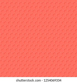 Honeycomb background on the theme of the color of the year 2019 - Living Coral. Vector illustration of geometric texture. Seamless hexagons pattern for web, print, wallpaper, fashion fabric, textile