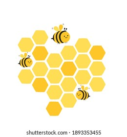 Honeycomb and bee cartoons icon logo isolated on white background vector illustration.