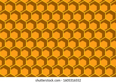 Honeycomb bee hexagon style orange color background.Beehive polygon backdrop.Geomatric shape pattern.Work for print or screen.Vector.Illustration.