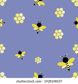 Honeycomb and bee seamless pattern template on pastel background vector for wallpaper,background,banner,poster,paper wrapping,card concept.