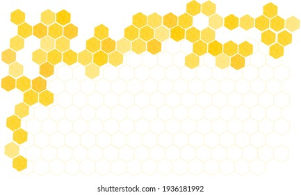Honeycomb beehive with hexagon grid cells on white background vector illustration.