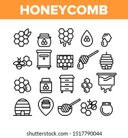 Honeycomb Collection Elements Icons Set Vector Thin Line. Bee Swarm, Beekeeper And Sweets, Nectar And Honeycomb Concept Linear Pictograms. Beekeeping Monochrome Contour Illustrations