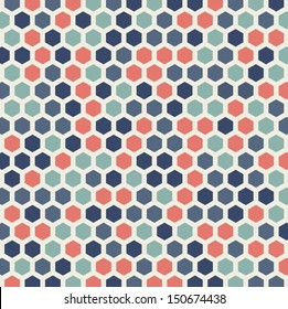 honeycomb colorful pattern background in retro style vector