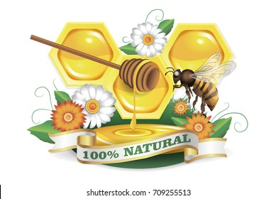 Honeycomb, flowers and bee. 100% natural honey