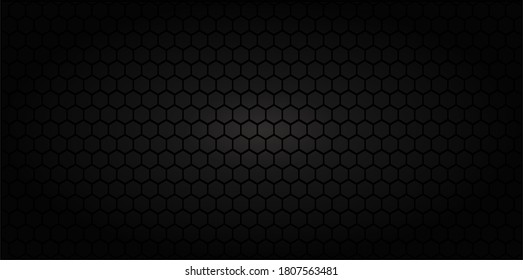 Honeycomb Grid seamless background or Hexagonal cell texture. With vignette dark border shadow. Black and White tone.
