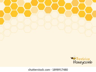 Honeycomb with hexagon grid cells , bee cartoon and lettering on yellow background vector illustration.