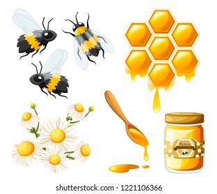 Honeycomb with honey drops. Sweet honey with flower and bees. Container for honey and spoon. Logo for shop or bakery. Flat vector illustration isolated on white background.