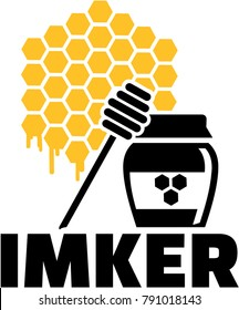 Honeycomb icon with honeypot and german male job title