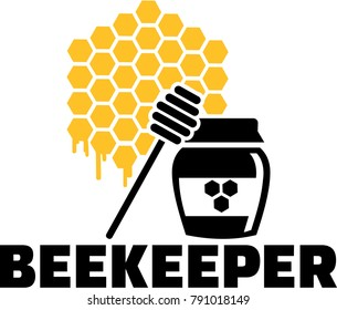 Honeycomb icon with honeypot and job title