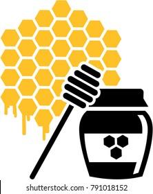 Honeycomb icon melting with honeypot