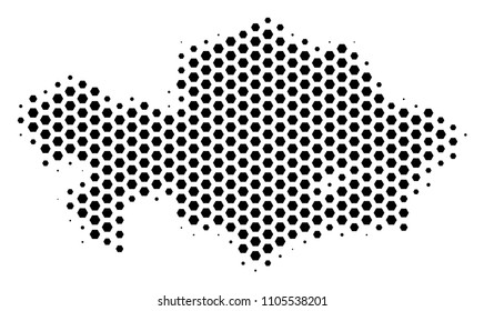 Honeycomb Kazakhstan map. Vector halftone geographic plan on a white background. Abstract Kazakhstan map concept is organized from hexagon blots.
