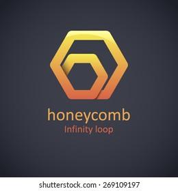 Honeycomb Logo Design Concept. Abstract Creative Honey Icon.Honey Producer Logo.