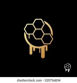 Honeycomb logo template. Gold honeycomb on a black background. Modern and creative symbol for company identity, advertising, poster, banner, web and flyer.