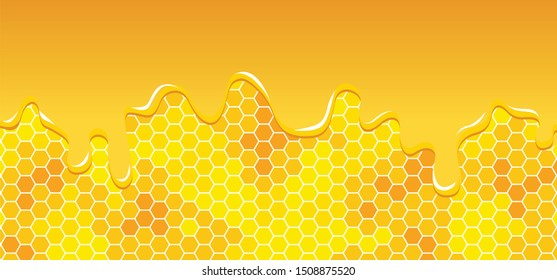 Honeycomb monochrome honey jelly seamless pattern Vector cell cells mosaic background raster fun funny honey bee honeycombs Beehive drops drop ornament hexagon geometric shapes Dripping drips jam