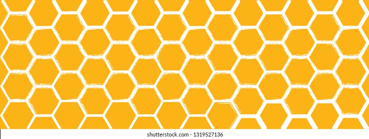 Honeycomb monochrome honey seamless pattern Vector cell cells pattern mosaic background raster fun funny honey bee honeycombs Beehive orange yellow ornament hexagon vintage hexagons geometric shapes