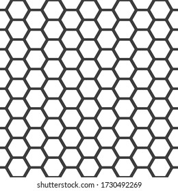 Honeycomb pattern. Seamless honey combs background. Vector hexagon texture. Black and white bee honeycombs. Illustration in flat style. EPS 10.