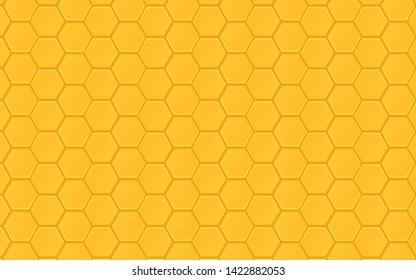 Honeycomb pattern vector background. Honeybee ornament hexagon texture. Beehive orange and yellow of geometric shapes