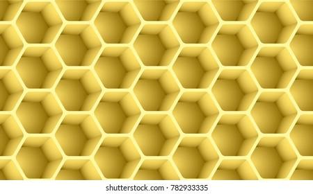 Honeycomb seamless pattern 3d vector