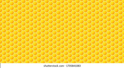 Honeycomb seamless pattern, geometric hexagons honey background in flat style