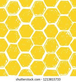 Honeycomb seamless pattern. Vector hand drawn illustration.