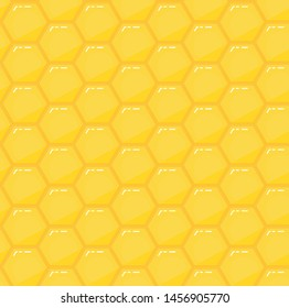 Honeycomb yellow vector seamless pattern. Golden hexagon mosaic honey texture. Geometric shapes illustration