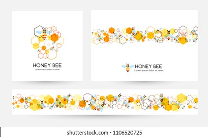 Honeycombs and bee. Design collection of banners with round emblem, horizontal border element and divider.