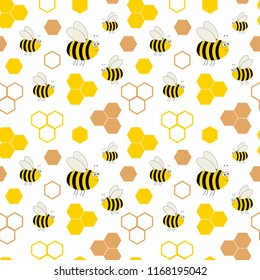Honeycombs and bees. Seamless pattern. Children's  illustration.