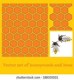 Honeycombs and  bees  vector set