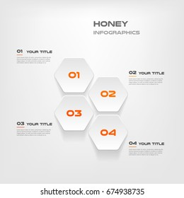 Honeycombs, gradient infographics step by step. Element of chart, graph, diagram with 4 options - parts, processes, timelines. Vector business template for presentation.Abstract background