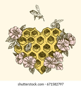 Honeycombs in the shape of a heart with bees and flowers. Vintage style. Vector illustration.