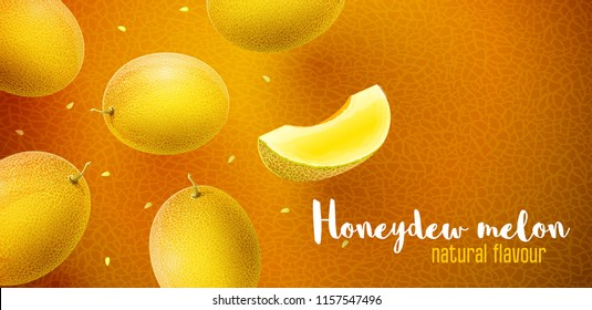 Honeydew melon flavour poster banner design with pattern and copyspace. Whole fresh ripe sweet fruit with sliced juicy piece of cut. Melon realistic fruits, flying and falling. EPS10 vector.