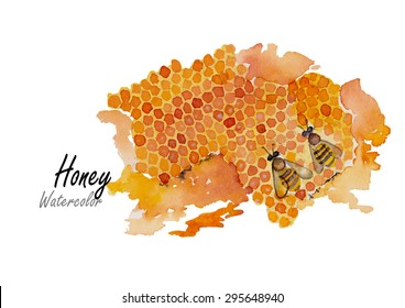 Honey.hand drawn watercolor painting on white background,vector illustration