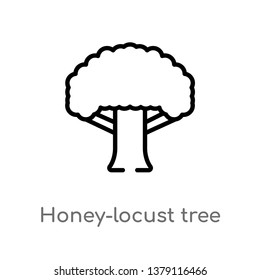 honey-locust tree vector line icon. Simple element illustration. honey-locust tree outline icon from nature concept. Can be used for web and mobile