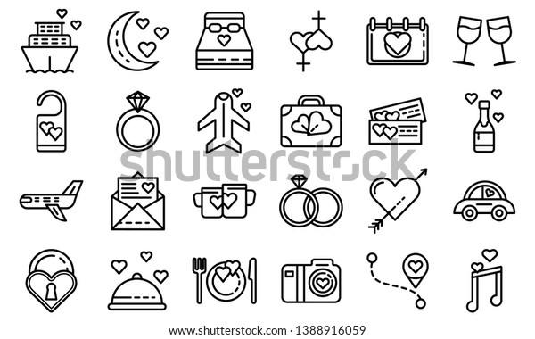 Honeymoon icons set. Outline set of honeymoon vector icons for web design isolated on white background