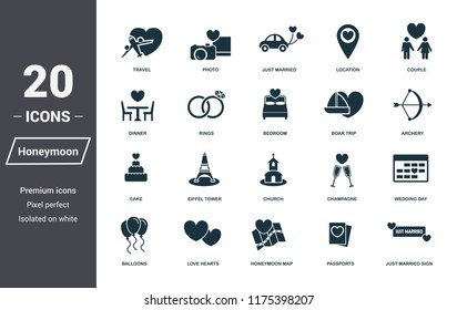 Honeymoon icons set. Premium quality symbol collection. Honeymoon icon set simple elements. Ready to use in web design, apps, software, print