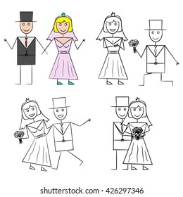 Honeymoon illustrations in various poses for invitations, magnets, decoration for the wedding
