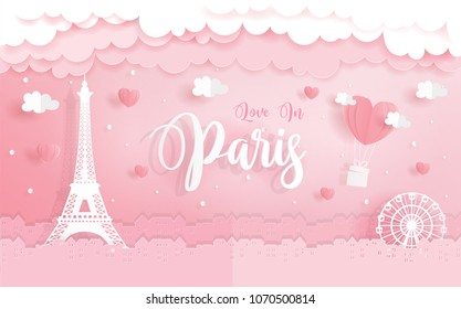 Honeymoon, love concept for travel advertising with Eiffel Tower in Paris, France, paper cut style vector illustration.