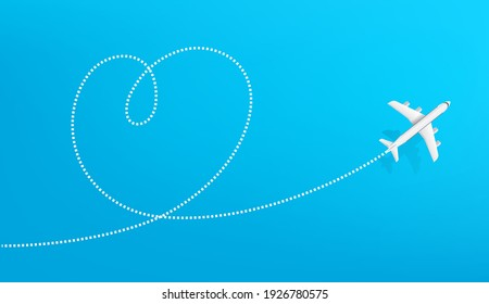 Honeymoon travel destination. Airplane drawing heart sign