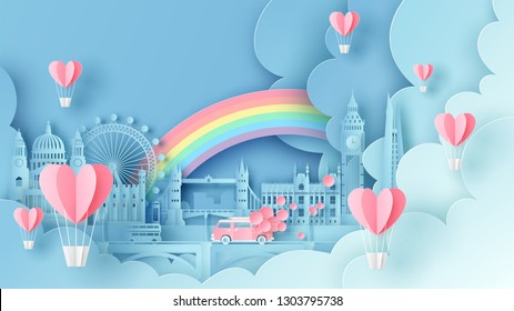 Honeymoon travel on Valentine's day and see the world famous architecture city in London, England. paper cut and craft style. vector, illustration.