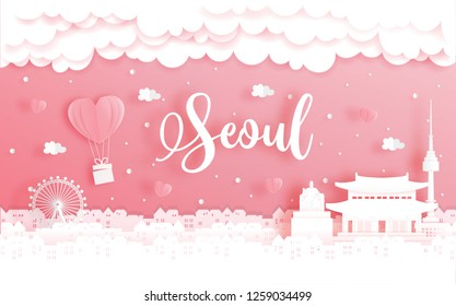 Honeymoon trip and Valentine's day concept with travel to Seoul, South Korea and world famous landmark in paper cut style vector illustration.