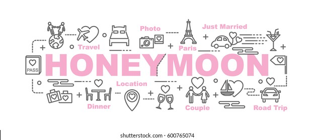 honeymoon vector banner design concept, flat style with thin line art icons on white background