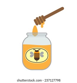 Honey-pot illustration with label and honey dipper, isolated on white background.