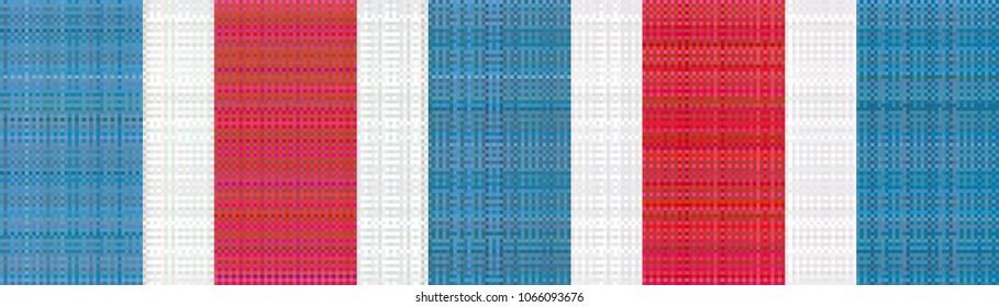 Hong Kong 60s, 70s Red-White-Blue nylon canvas bag pattern