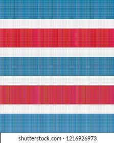 Hong Kong 60s, 70s Red-White-Blue nylon canvas bag pattern (horizontal stripes version)