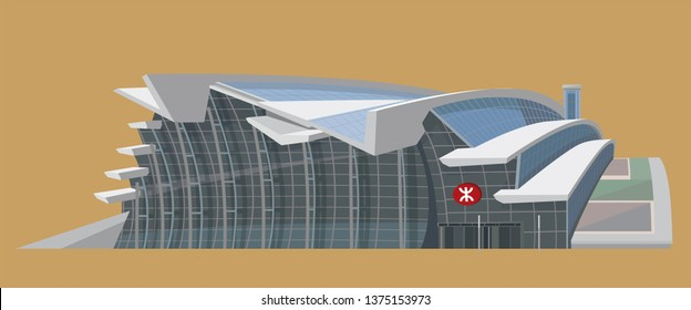 Hong Kong - April 2019: Vector graphic of Hong Kong West Kowloon Station (MTR). It is the terminus of high-speed railway to mainland China.