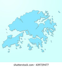 Hong Kong blue map on degraded background vector