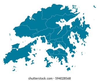 hong Kong blue map vector