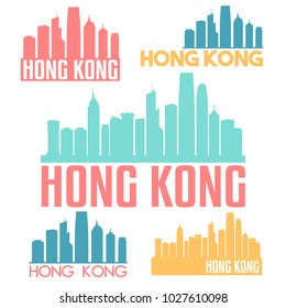 Hong Kong China Flat Icon Skyline Vector Silhouette Design Set