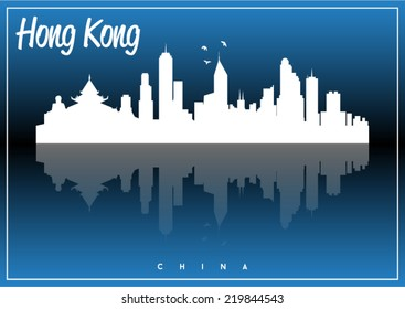 Hong Kong, China, skyline silhouette vector design on parliament blue background.