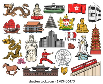 Hong Kong and China travel icons with isolated vector flag, bauhinia flower, Buddha, temple and pagoda buildings. Dragon, peak tram and skyscrapers, coat of arms, drum, goddess of sea and junk boat